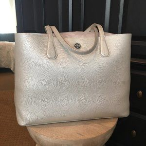 Tory Burch metallic silver Perry tote